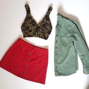 Tops - Camouflage Crochet Crop Top
